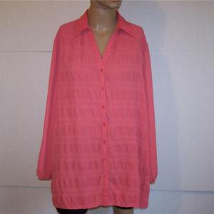 Maggie Barnes blouse plus 18W shirt sheer coral